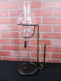 Vintage Engraved Glass Wine Decanter Dispenser