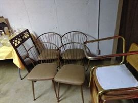 4 mid century metal chairs