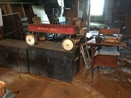 Radio Jet wagon, trunks, school desk with hole for an ink well