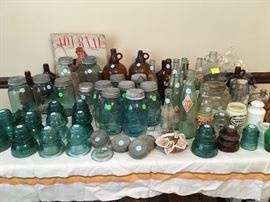 blue Ball canning jars, bottles, insulators