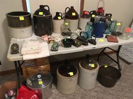 antique crocks, whiskey jugs, pressure canner/cooker