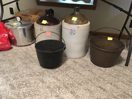 cast iron, whiskey jugs, Presto pressure cooker/canner