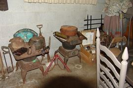 Old wood stoves, cast iron cookware, etc.