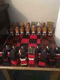 Purchased in 1970 in Valencia, Spain. Handmade, hand painted chess set. Custom made board.