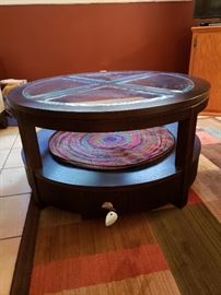 "La-Z-Boy circular glass topped coffee table with lower surface and two bottom drawers.40"" width"