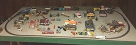 Large Train Collection to  include Board, Houses, Trees and Train Cars