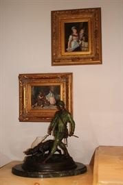 Many Oil Paintings and Small Statuary