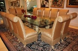 """Country French Dining Room Table and 14 Chairs (120x60"""" with 3/4"""" Glass Top)"""