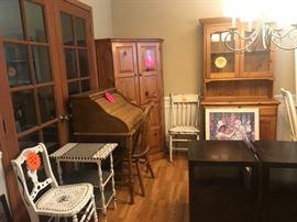 Desk, Table/Chair Set and Corner Shelf