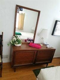 mid century cabinet, mirror,