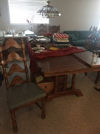 Dining set with 6 chairs. Table extends to  seat 12.