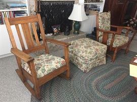 Vintage chairs + ottoman.