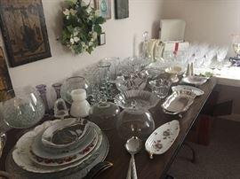 Fine china and glassware.