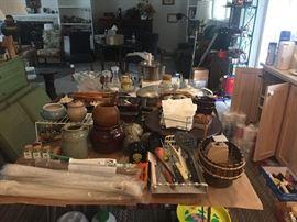 Large variety of kitchen utensils.
