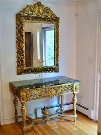 Gilt mirror and marble top table