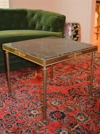 One of two marble top occasional tables