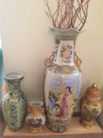 LARGE VASES, GINGER JAR, TWIGS (4 PC)