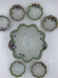 Nippon Porcelain Hand-Painted Green Trim w/ Purple Flowers Candy/Nut Bowls 7 Piece Set