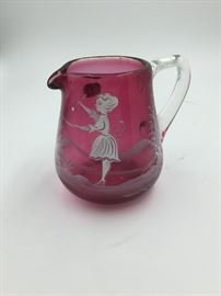 Czechoslovakian Glass Hand-Painted Cream/Milk Mini Pitcher