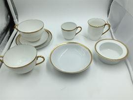 Hutschenreuther White w/ Gold Trim 86 Piece Tea/Dinner Set