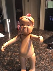 "hand carved ""Ma Sturgeon ""  Dana Doll  precursor to cupie dolls"