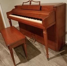 Wurlitzer spinet piano & bench.