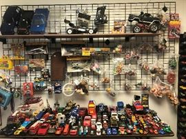 toy cars, some with controllers