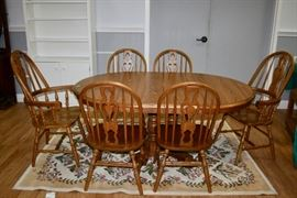 Oak Dining Table and Six Chairs with Two Leaves