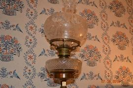 Antique Brass and Etched Glass wall mounted Oil Lamp