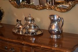 Silver tea service, pitcher