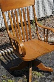 Antique Pine and Oak Desk Chair