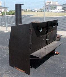 "Custom Built Competition Smoker, 1200 Degree Black Heat Paint, Double Rack, Double Temp Gauge,5/16"" Thick Gauge Steel Plate, 6"" Adjustable Smoke Stack"