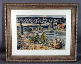 """Robert Sudlow (1920-2010) Original Watercolor on Paper Landscape Bridge Painting, Matted and Framed, 43""""W x 36""""H"""