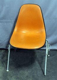 "Herman Miller Eames DSS Shell Chair, Stacking Base, Orange Naugahyde Seat, Fiberglass Back, Herman Miller Stamp, 18.5""W x 31""H"