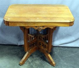 """Victorian Eastlake Style Parlor /Side Table with Beveled Rectangular Top, 33""""L x 23""""W x 29""""H"""