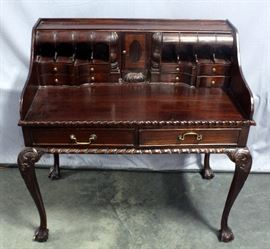 """Chippendale Style Escritoire Writing Desk with Pigeon Holes , Claw and Ball Feet, Pie Crust Edging, Dovetail Constructed Drawers, 40""""W x 42""""H x 23""""D"""