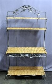 """Iron and Wicker Bakers Rack with Grape Vine and Scroll Design, 38""""W x 6'H x 17.5""""D, Heavy"""