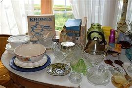 Platters, bowls, Kromex chafing dish