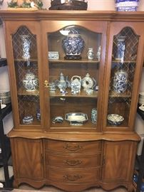 Vintage China Hutch, Collection of Blue and White Porcelain