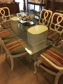 Glass top Pedestal Dining Table with 6 Chairs, 2 arm and 4 side