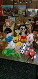 Stuffed animals...Look at that vintage Mickey Mouse!