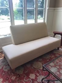 Custom sofa with a chair and ottoman.  Color is not well represented in this photo  asking $600 for the sofa and chair ottoman set in following photos