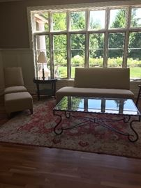 "Royal Custom Design furniture, wool rug, coffee table also for sale coffee table measures 54""w x 32""d x 19""h asking $140  Pakistani rug measures 8'2"" x 9'"