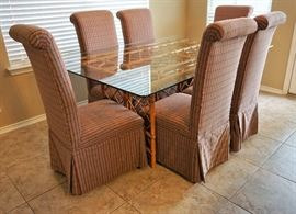 Glass and bamboo dining table