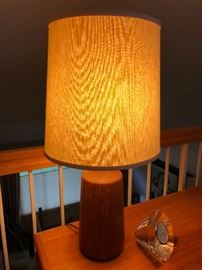 Vintage Danish Modern teak table lamp