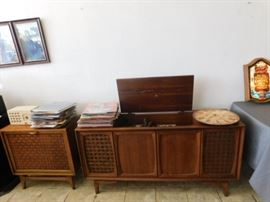 Stereo cabinet and album cabinet  with albums