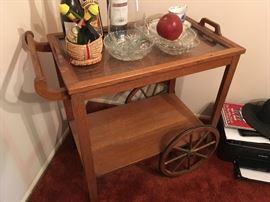 a vintage butler's cart