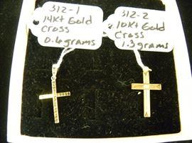 14kt & 10kt Gold Cross Pendants