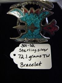 Sterling Silver, Turquoise & Coral Cuff Bracelet