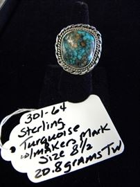Sterling Silver & Turquoise Ring w/Makers Mark